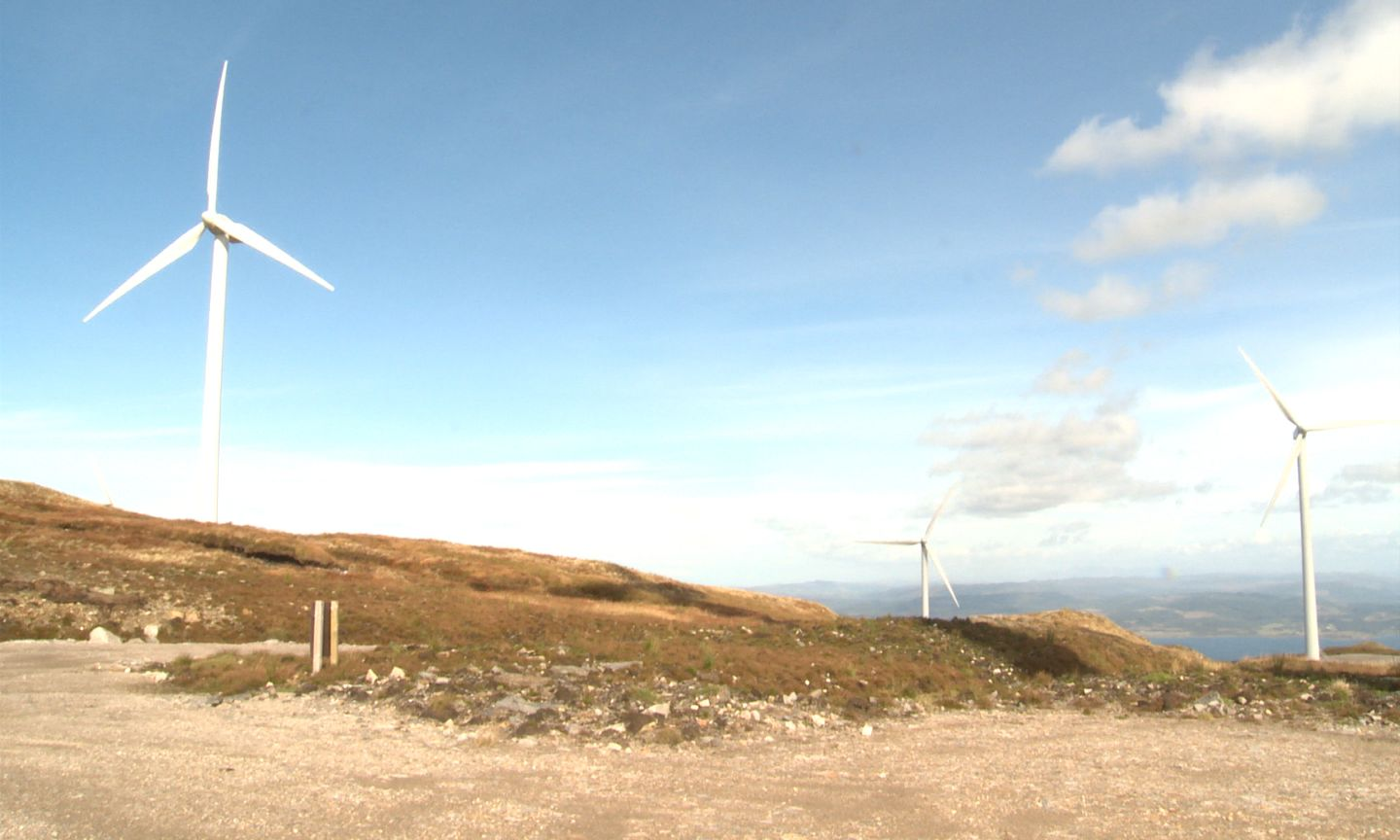 Wind turbines on Sir William Lithgow's estate on the west coast of Scotland