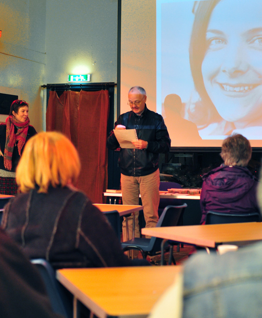 David Macleod introduces Anna Canning to give the Mary Beith Memorial Lecture in the Melness Community Centre,