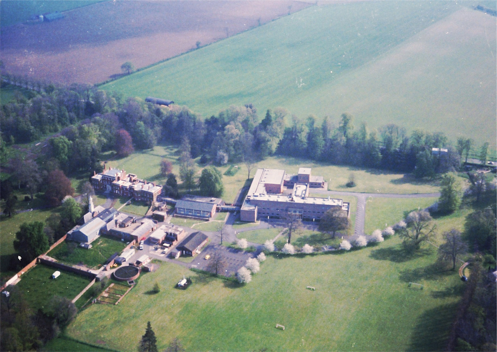 The TI Group Laboratories at Hinxton Hall, taken from the air by Bill Graham in 1979