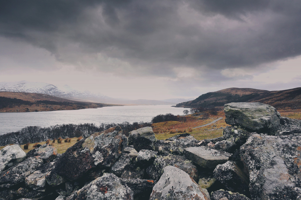 Cleared of people to make way for sheep: the remains of the settlement of Grumbeg, Strathnaver, overlooking Loch Naver.