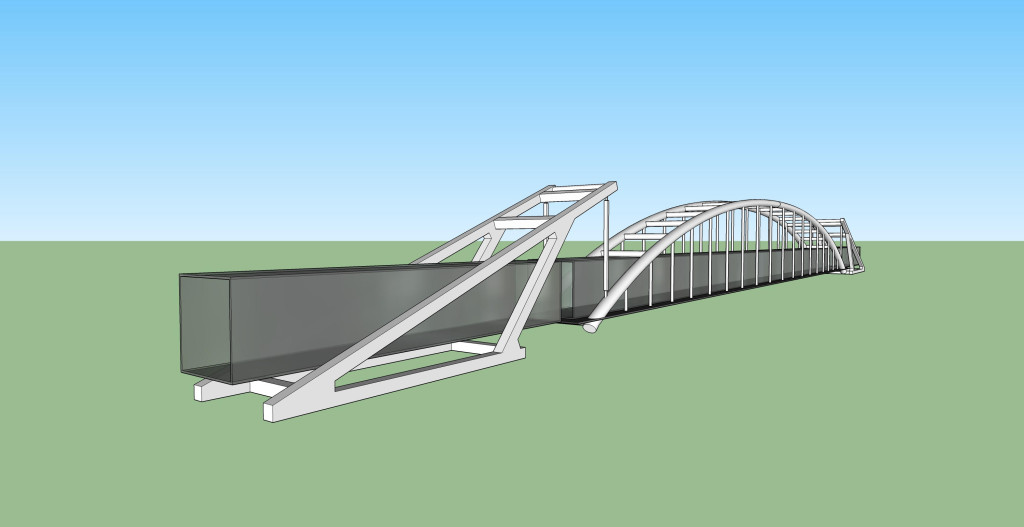 Sketch of suspension bridge (Bill Graham)
