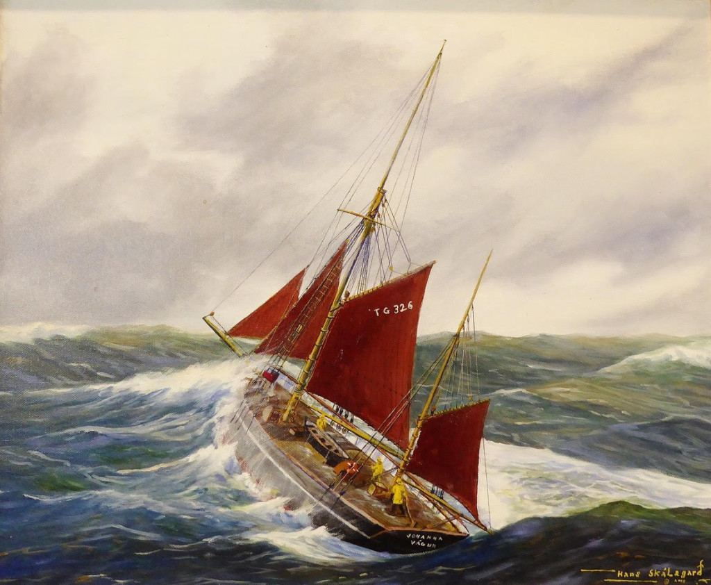 Painting of a Faroese smack (Johanna) by Faroese artist Hans Skalagaard