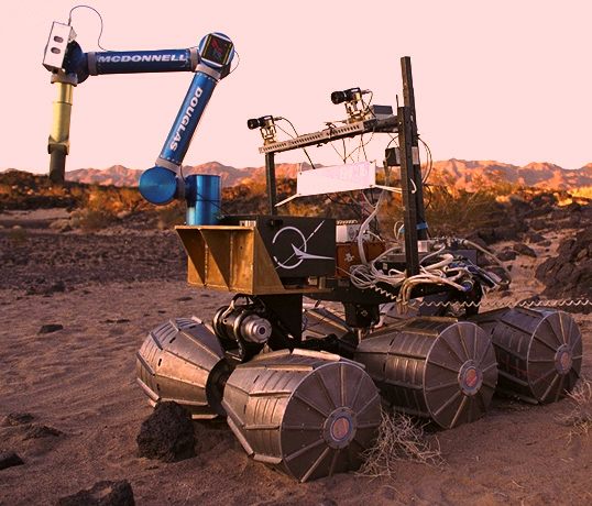 'Marsokhod', an experimental Mars robotic explorer, being tested in the Mojave desert (picture courtesy NASA Ames Research Center)
