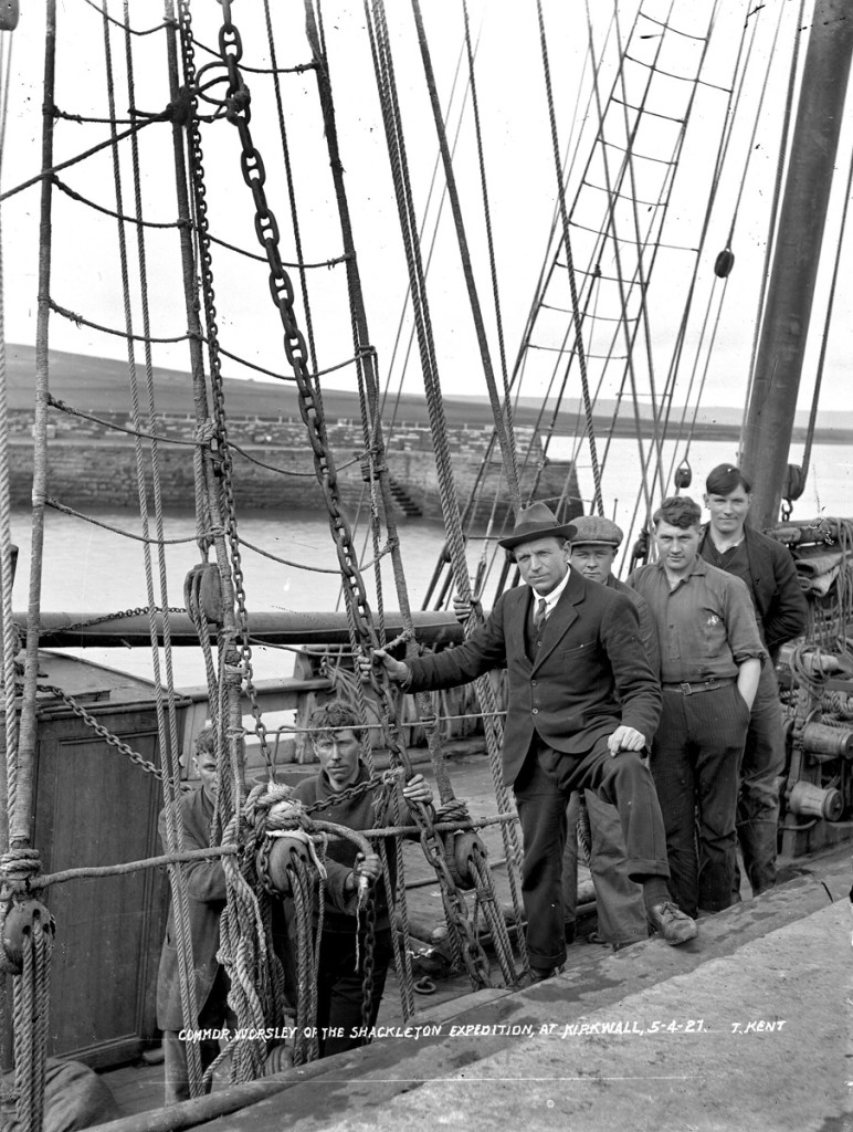 Frank Worsley with his ship 'Annie' – not the Kathleen Annie – which he had just sailed from Iceland, April 1921(Pic: Tom Kent, courtesy of Orkney Library and Archive)